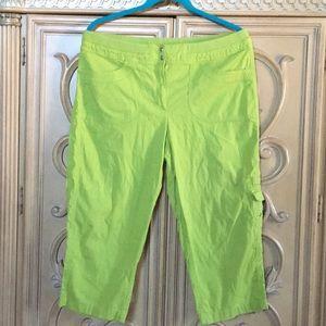 Rafaela stretchy waist lime green capris guc 12p